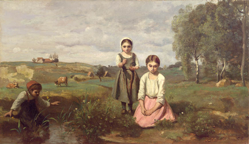 Enfants au Bord d'un Ruisseay dans la Campagne à Lormes [Children at the edge of stream in the countryside near Lormes]