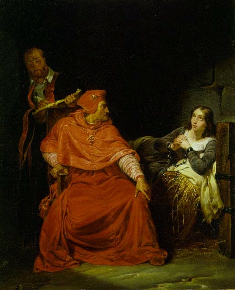 Joan of Arc being interrogated by the Cardinal of Winchester