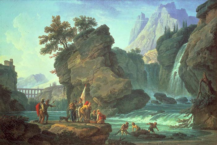 The Cascade; an Alpine Landscape with Soldiers and Fishermen
