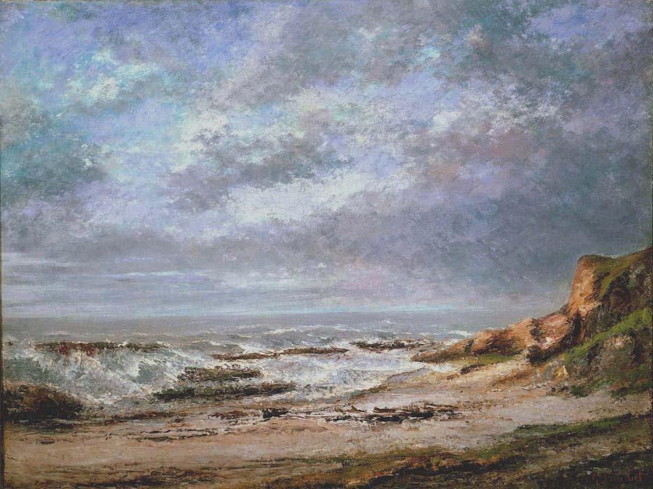 Vue d''une mer agitée près d'une falaise