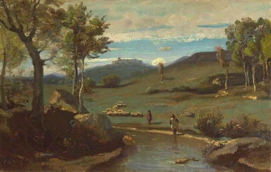 Campagne Romaine –Vallée rocheuse avec un troupeau de Porcs