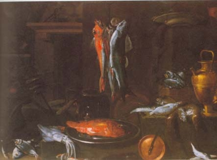 A kitchen interior with fish