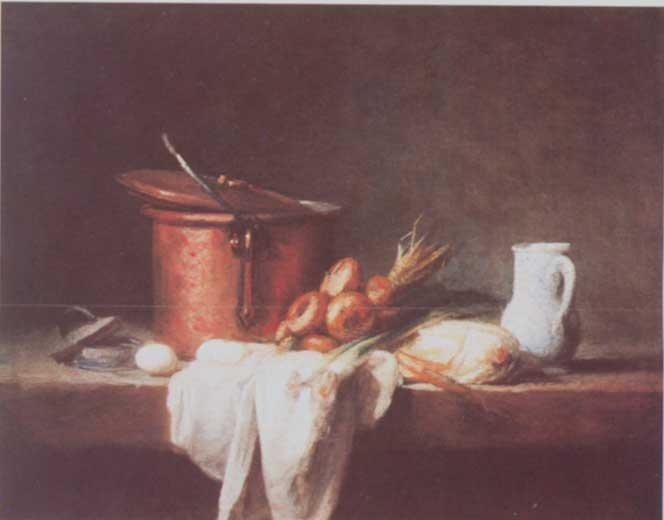 A kitchen table with copper vessel, napkin, eggs, leek