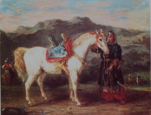Circassian holding his horse by the bridle