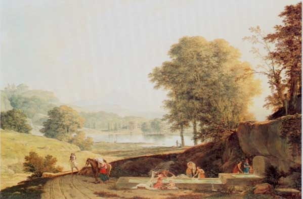 Landscape with washerwomen by a fountain