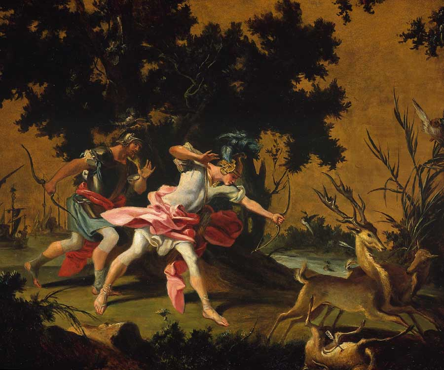Aeneas and Achates hunting Stags on the Coast of Libya