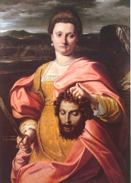 Portrait of Olympia Luna as Judith with the head of Melchiorre Zoppo as Holofernes