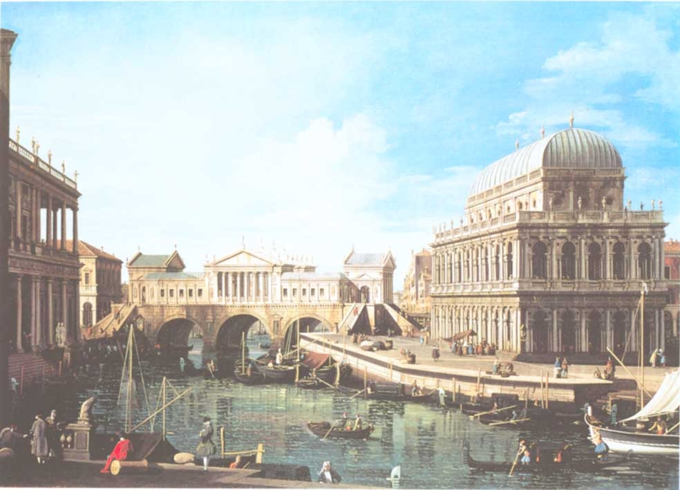 A capriccio with a palladian design for the Rialto with buildings at Vicenza