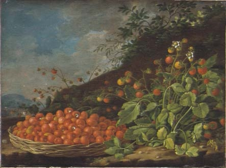 Still Life with a basket of strawberries in a Landscape