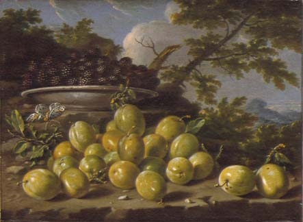 Still Life with a plate of plums and blackberries