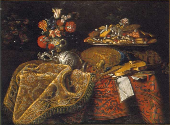 Still Life with flowers, sweetmeats and a violin