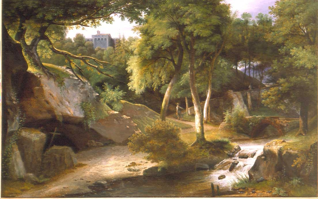 Forest Landscape with a Woman Carrying Water