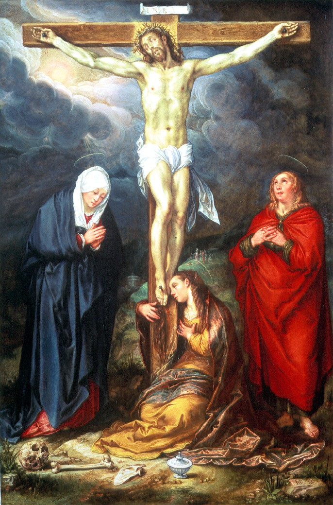Christ on the Cross with Saints Mary Magdelen, the Virgin and St John the Evangelist