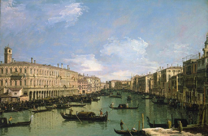 The Grand Canal, Venice, looking North from near the Rialto Bridge
