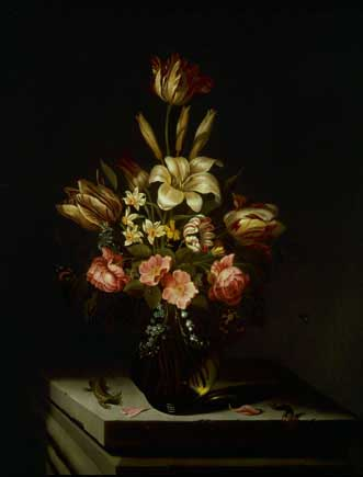 Still life of Flowers in a Glass Vase on a Stone Plinth