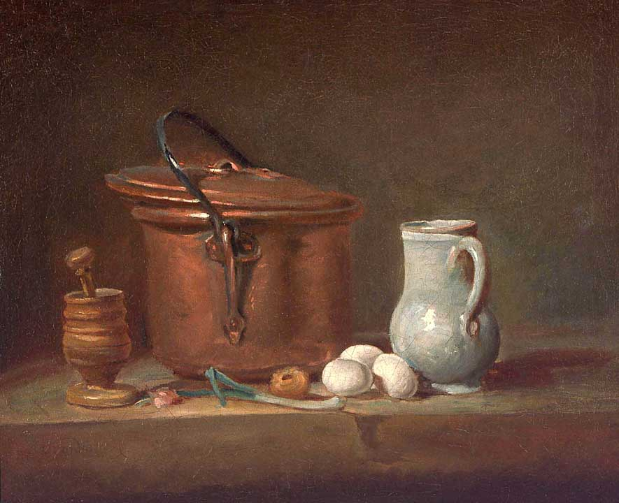 Kitchen Objects Arranged on a Shelf: a Copper Saucepan, a Pestle and Mortar, Pottery Pitcher, Scallion, Three Eggs and an Onion