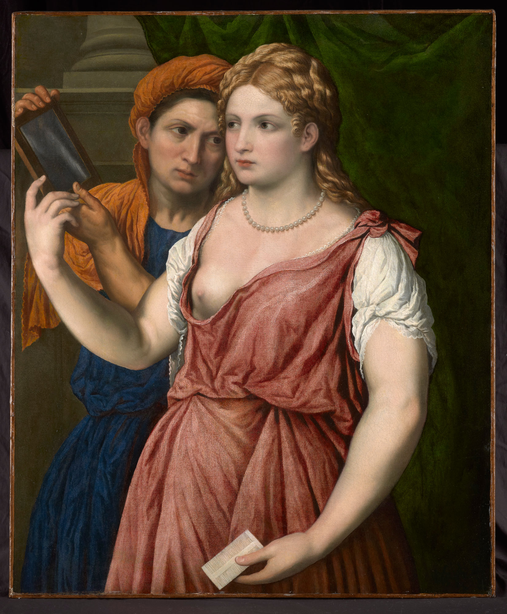 A Young Woman Holding a Mirror with Her Servant (A Bella)