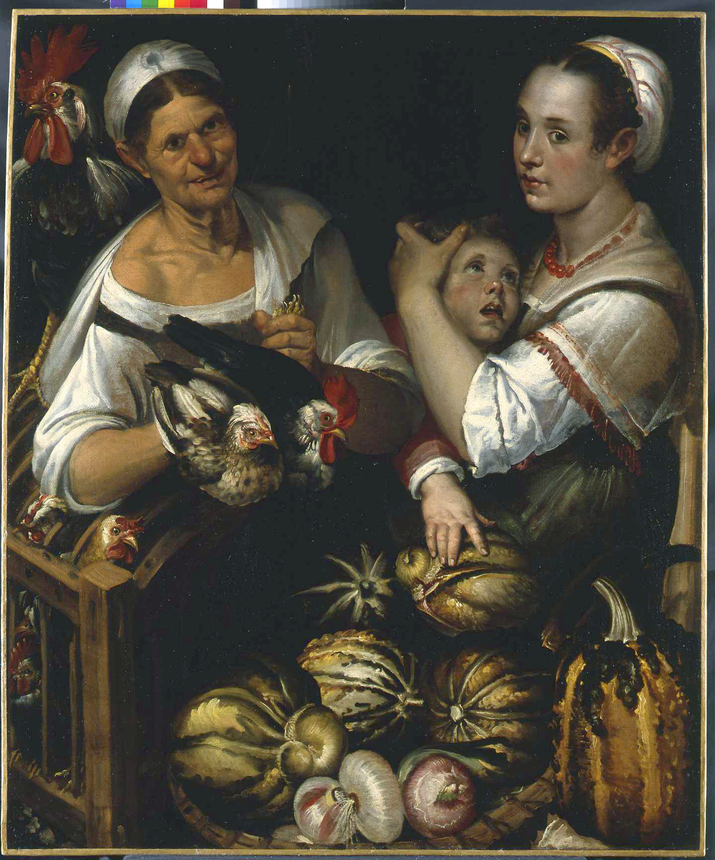 Two market woman and a boy selling poultrey, gourds and onions