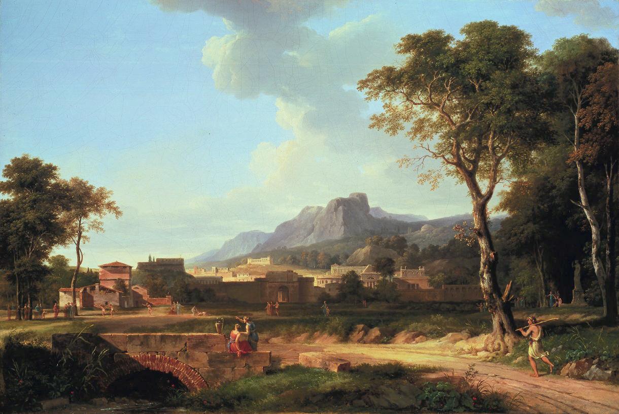 Figures in a Classical landscape running a marathon