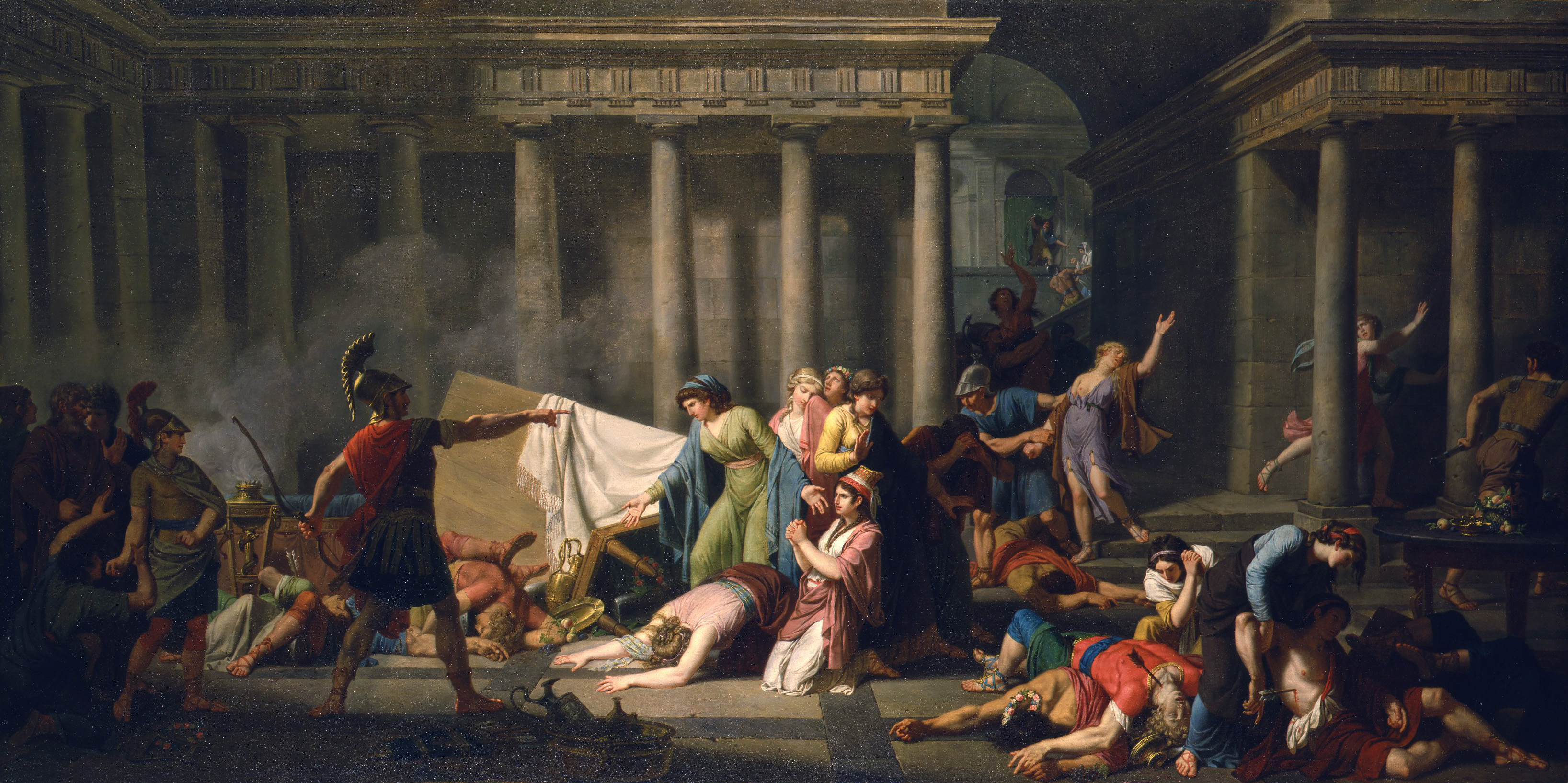 Ulysses Returning to his Palace after Slaying the Lovers of Penelope,  Ordering the Women to Remove their Bodies