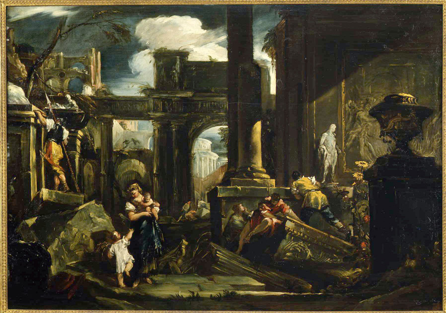 A Capriccio of classical Ruins with Peasants and a Sol