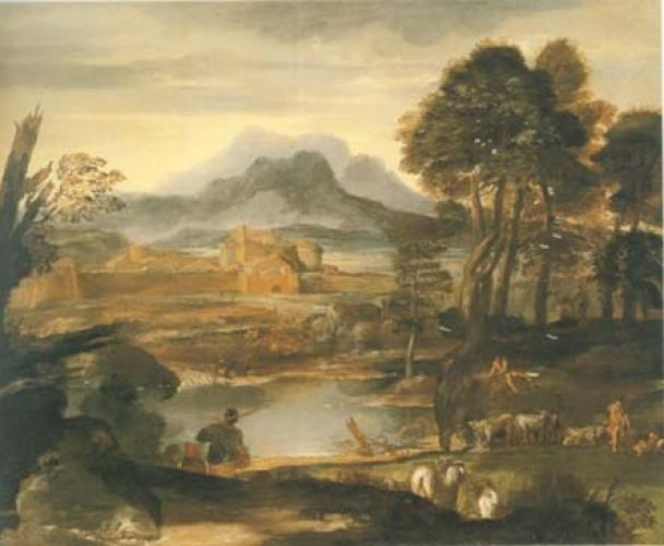 A landscape with a Lake and a distant town