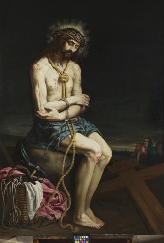 Christ in contemplation on the cold stone before his Crucifixion