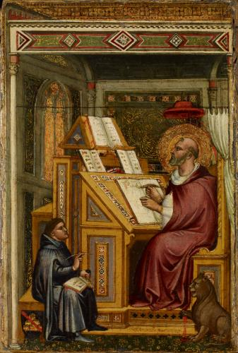 Saint Jerome copying sacred texts