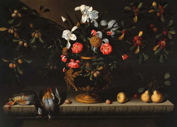 Still Life with Vase of Flowers, Partridges and Pears