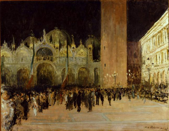 The Piazza San marco, Venice, by night