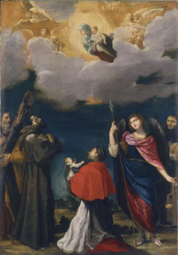 The Virgin in Glory Adored by St Andrew, St Francis, St Charles, Bomoeo Holding an Infant, St Michael and St Dominic