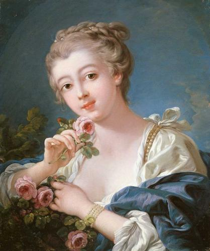 Young Woman Holding a Rose